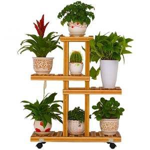 4 Layers Plant Shelves Wooden Flower Stand Pot Bonsai Display Wheels Storage Rack Holder Organizer Patio Garden Home Decoration