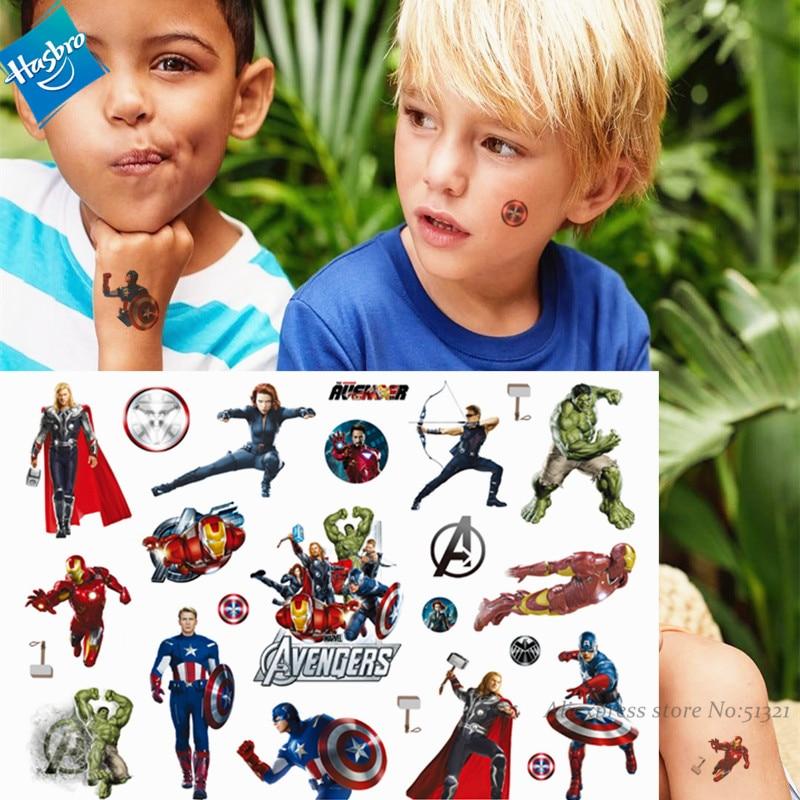 Hasbro Spiderman Marvel Ironman The Avenger Children Cartoon Temporary Tattoo Sticker For Boys Toys Waterproof Kids Gift