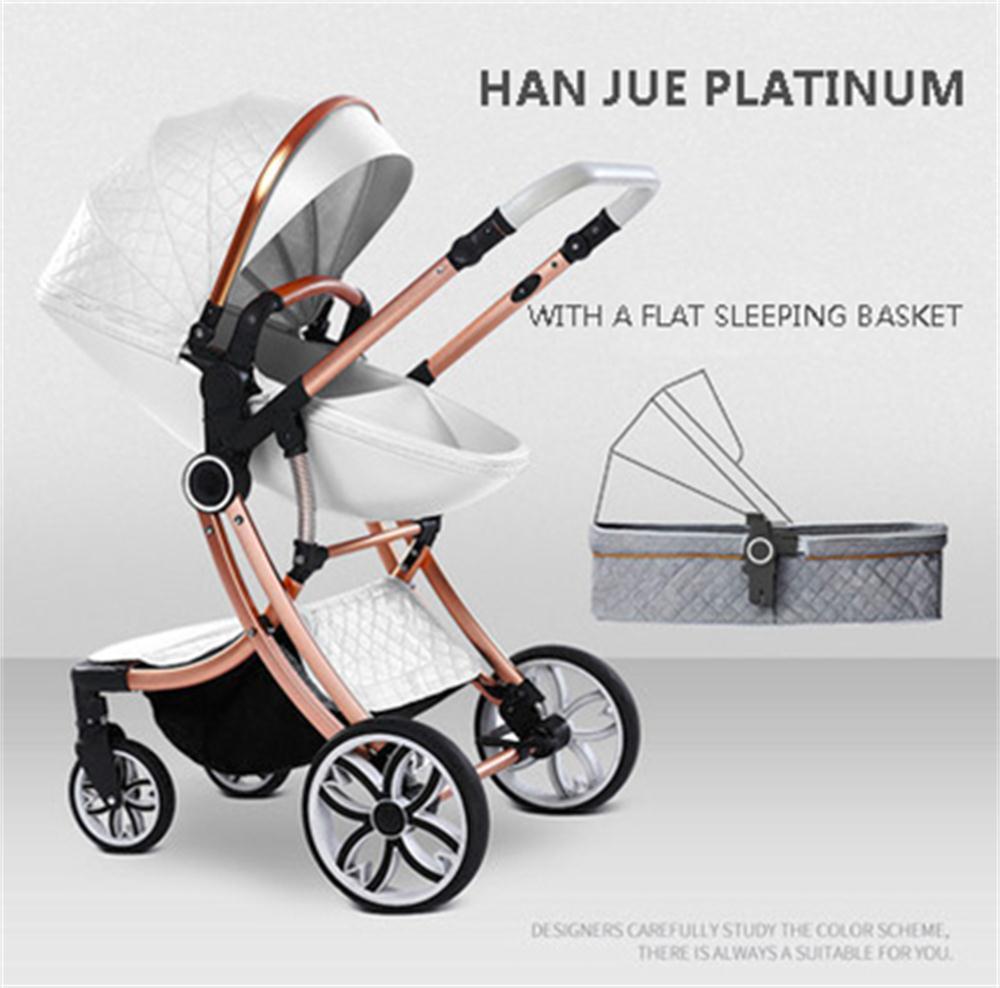 Cochecito de bebé de lujo de dos vías cochecito de bebé de moda con carrito de luz plegable y de Vista alta 2 en 1 coche de bebé Newbon