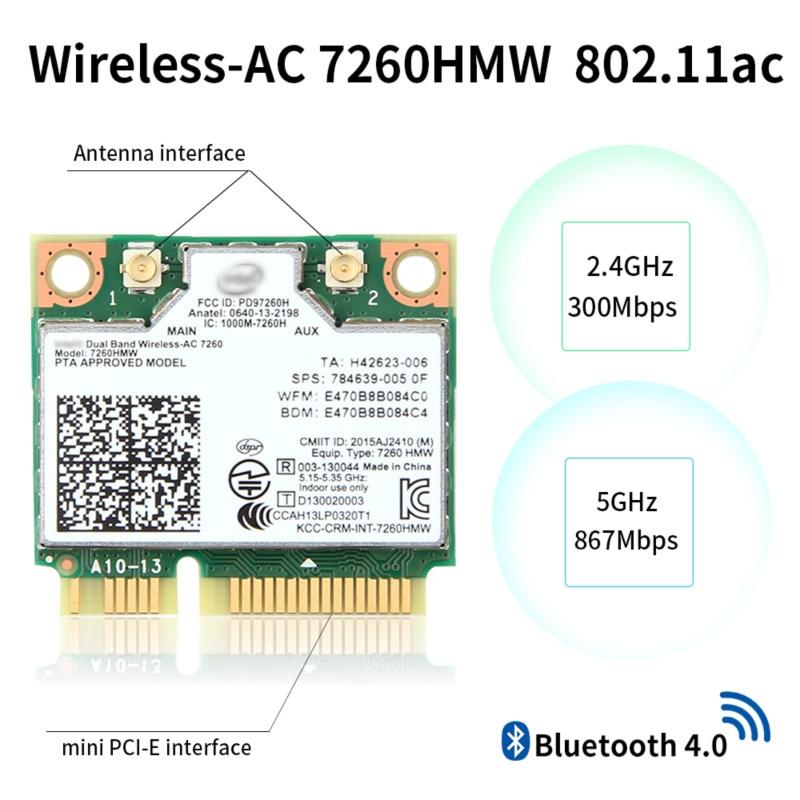 Dual Band Für Intel Wireless ac 7260 7260HMW Mini PCI-E Wifi Karte 867Mbps 802,11 ac 2,4G/5GHz bluetooth 4,0 Wlan Adapter Laptop