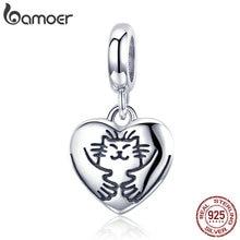 BAMOER Genuine 925 Sterling Silver Hug Cat in Heart Shape Pendant Charm fit Charm Bracelet & Bangles DIY Jewelry Making SCC955