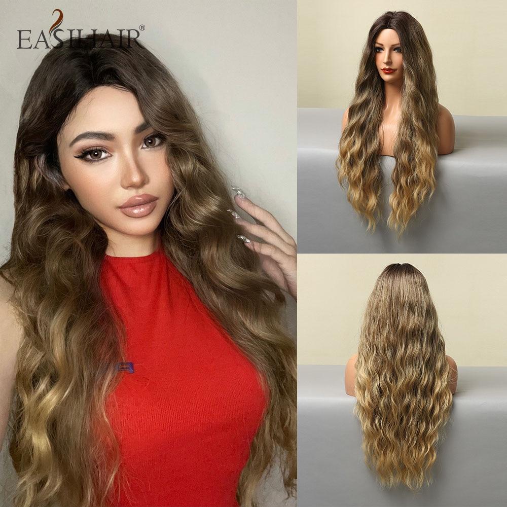 EASIHAIR طويل شعر مستعار اصطناعي الرماد البني أومبير شعر مستعار طبيعي للنساء تأثيري الباروكات ارتفاع درجة الحرارة الألياف مقاومة للحرارة