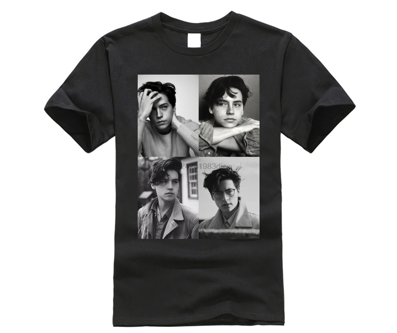 Cole Sprouse camiseta Cole Sprouse Collage B W Camiseta Hombre algodón camiseta clásica impresa divertida talla grande corto -Camiseta de manga