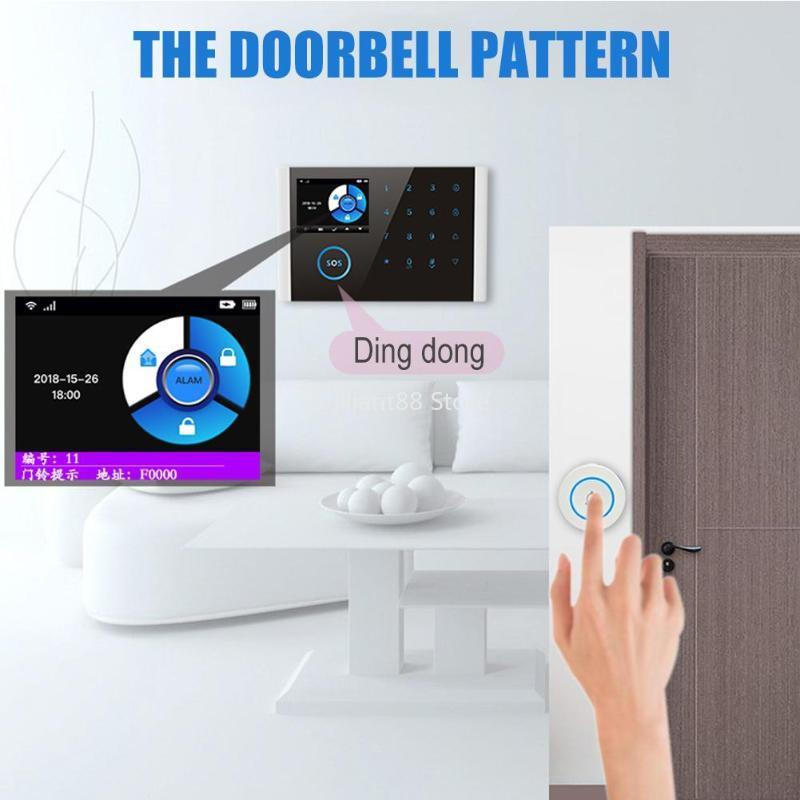 APP Control WiFi + GSM + GPRS Home Security Burglar Alarm System LCD Touch Keypad WIFI GSM Alarm System Sensor Kit enlarge