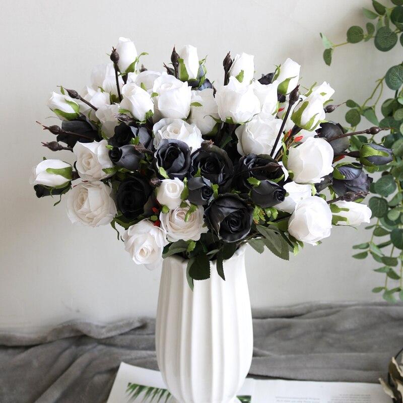 Flores artificiais de seda para decoração, 3 pçs de flores artificiais retrô em preto e branco para casamento, decoração de casa e outono
