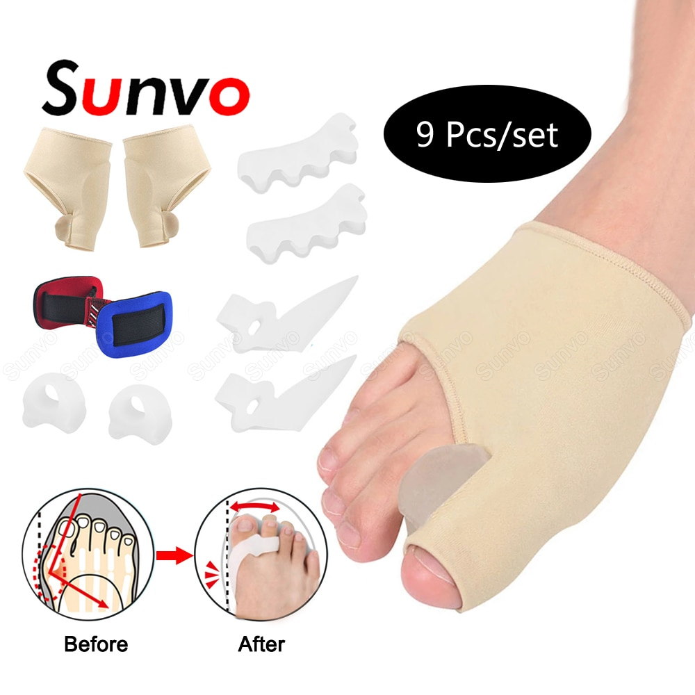 9Pcs/Set Silicone Toes Separator Bunion Bone Ectropion Adjuster Toes Outer Appliance Foot Care Tools