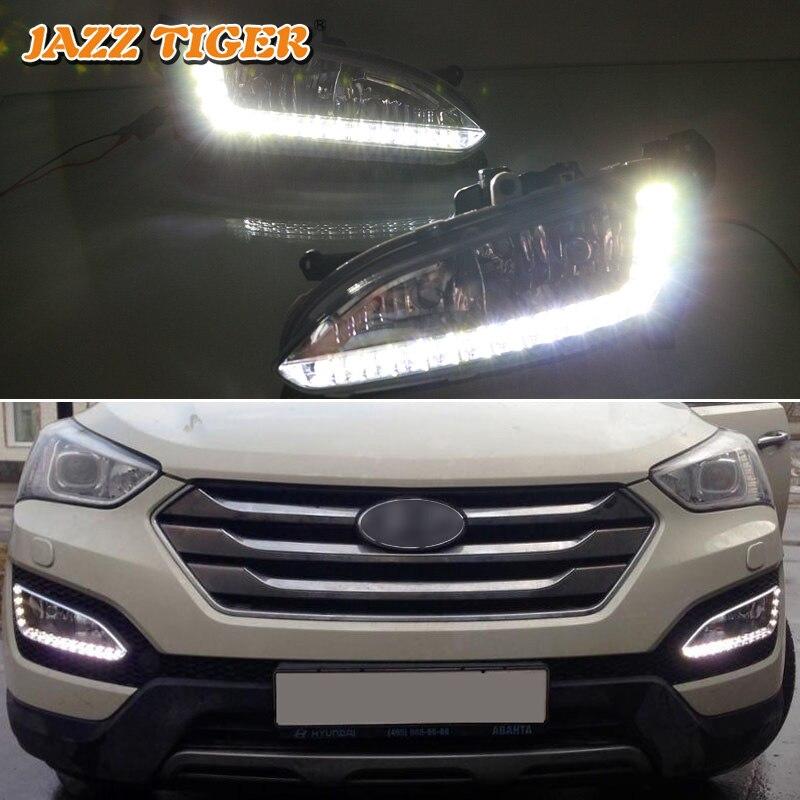 Tigre JAZZ superbrillo impermeable ABS cubierta 12V coche DRL luz LED de conducción diurna para Hyundai Santa Fe IX45 2013 2014 2015