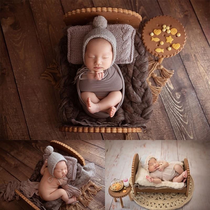 2 Pcs Newborn Detachable Posing Mini Bed Bedside Table Set Baby Photo Shooting Handmade Wooden Cookie Crib Desk Kit Infant 97BC