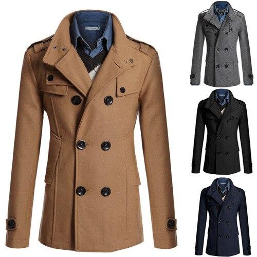 نمط جديد الرجال معطف الصوف الرجال سليم صالح منتصف طول الصوف القماش خندق معطف الرجال ملابس خارجية