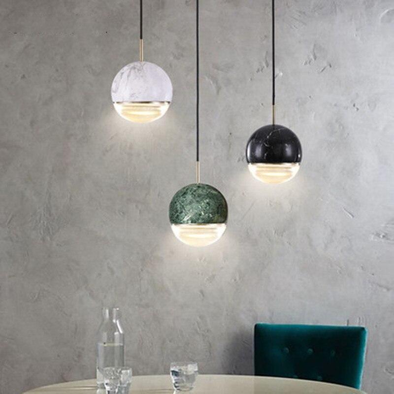 مصباح معلق led بتصميم كرة رخامية ما بعد الحداثة ، تصميم إبداعي ، فن كريستالي ، للمطعم ، البار ، غرفة بجانب السرير ، تركيبات إضاءة زخرفية
