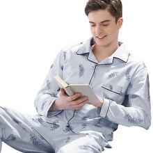 Mens pajamas men sleepwear Cotton Pajama spring pijama hombre Mens Sleepwear Lattice Sleepwear Sleep