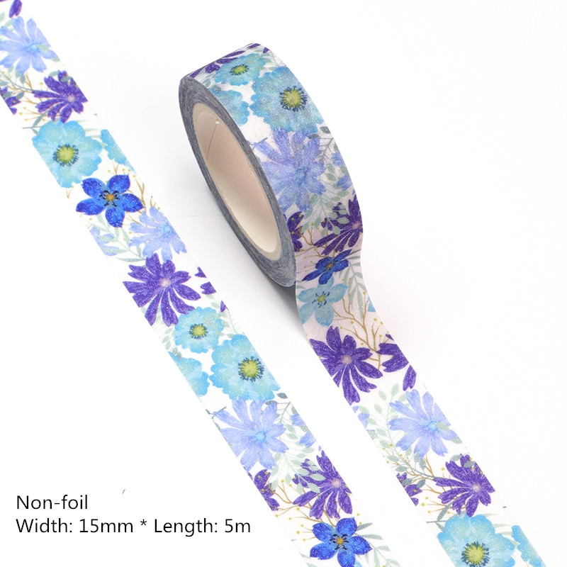 NEW 10pcs/lot 15MM*5m Blue flower Decorative Washi Tape Scrapbooking Masking Office Supply Adhesive Kawaii Stationery