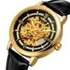Winner – montre squelette doré pour homme mécanique marque de luxe cuir véritable ceinture aiguilles lumineuses