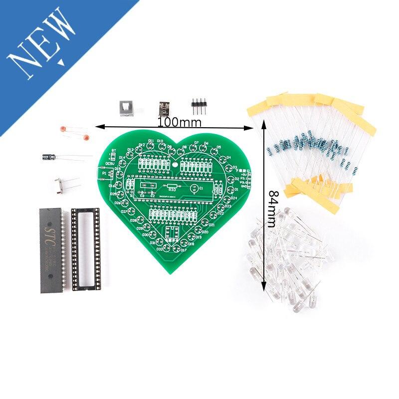 DIY Heart Shape Breathing Lamp Kit Breathing LED Suite Colorful LED Water Lamp Kit Electronic Produc