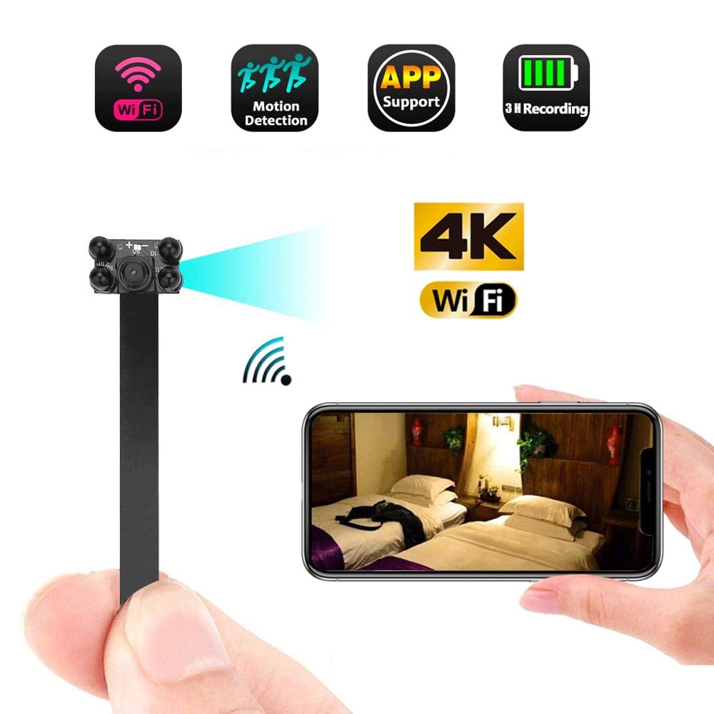 Cámara de red WIFI 4K, cámara web IP P2P HD, Mini cámara de gran angular, módulo de cámara inalámbrica DIY, videocámara DV activada por movimiento pequeña