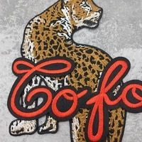 fashion letter leopard embroidery t shirt sewing patch jacket denim coat repair clothes sticker diy accessories badge
