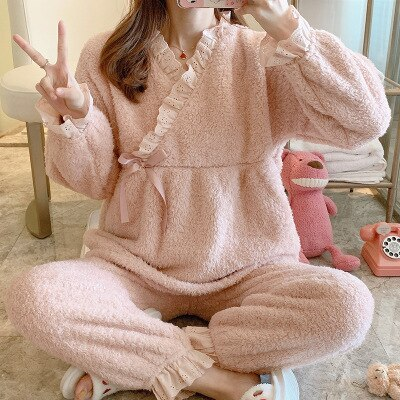 2021 New Spring Fall Pregnant Sleepwear Nursing Pajamas Maternity Set Cotton Warm Thick Breastfeeding Clothes  Clothes enlarge