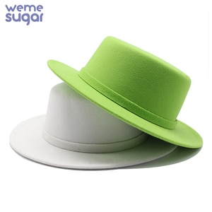 WeMe New Green Fedora Hats Wool Vintage Felt Hat  for Winter and Autumn Jazz Caps