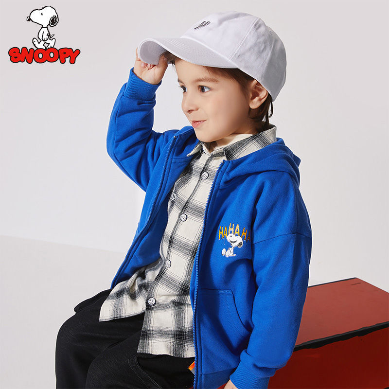 Snoopy Boy's Jacket Fall 2021 New Baby Hooded Sweater Small and Medium-sized Children's Long Sleeve Tops Handsome Trend enlarge
