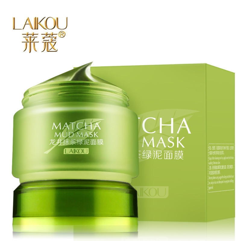 1pcs LAIKOU MATCHA mud mask Face Masks Acne treatment Accuse oil blackhead removal deep pores cleanser Organic green tea mask