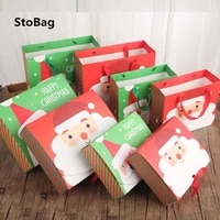 stobag redgreen christmas cookies gift packing paper box for birthday party cake chocolate candy holders handmade child favor