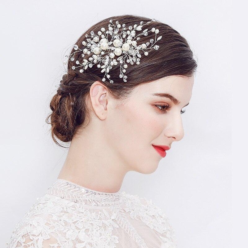 EBay Amazon ventas cruzadas a mano perla peine para el cabello moda europea boda Simple peine para el pelo de la novia