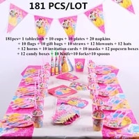181 pcslot disney princess theme cartoon party set cup tableware plate tablecloth birthday napkins baby shower party decoration