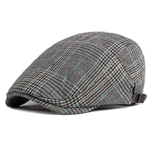 2021 Cotton four seasons plaid Newsboy Caps Flat Peaked Cap Men and Women Painter Beret Hats 63