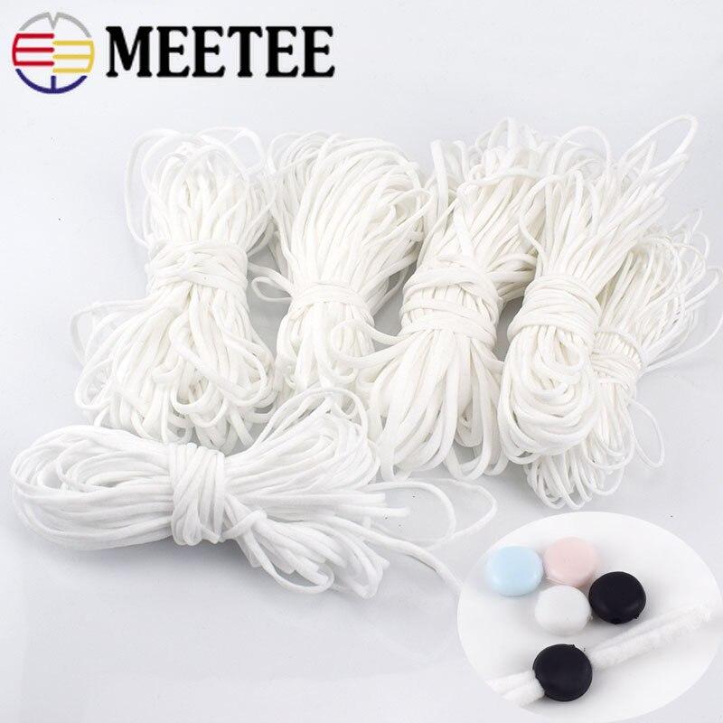 Meetee 10/20/50 metros banda elástica 3mm redonda cuerda elástica plana cuerda de goma cuerdas de oído DIY accesorios de ropa