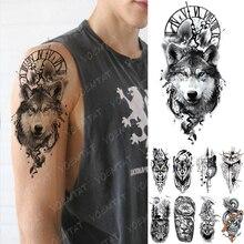 Imperméable temporaire tatouage autocollant horloge Orange bleu yeux loup Flash tatouages Lion boussole Art corporel bras faux Tatoo femmes hommes