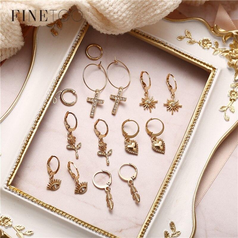 Minimalist Small Hoop Earrings for Women Gold Color Tiny Eyes Cross Star Rose Flower Huggie Circle Hoops Endless Earrings