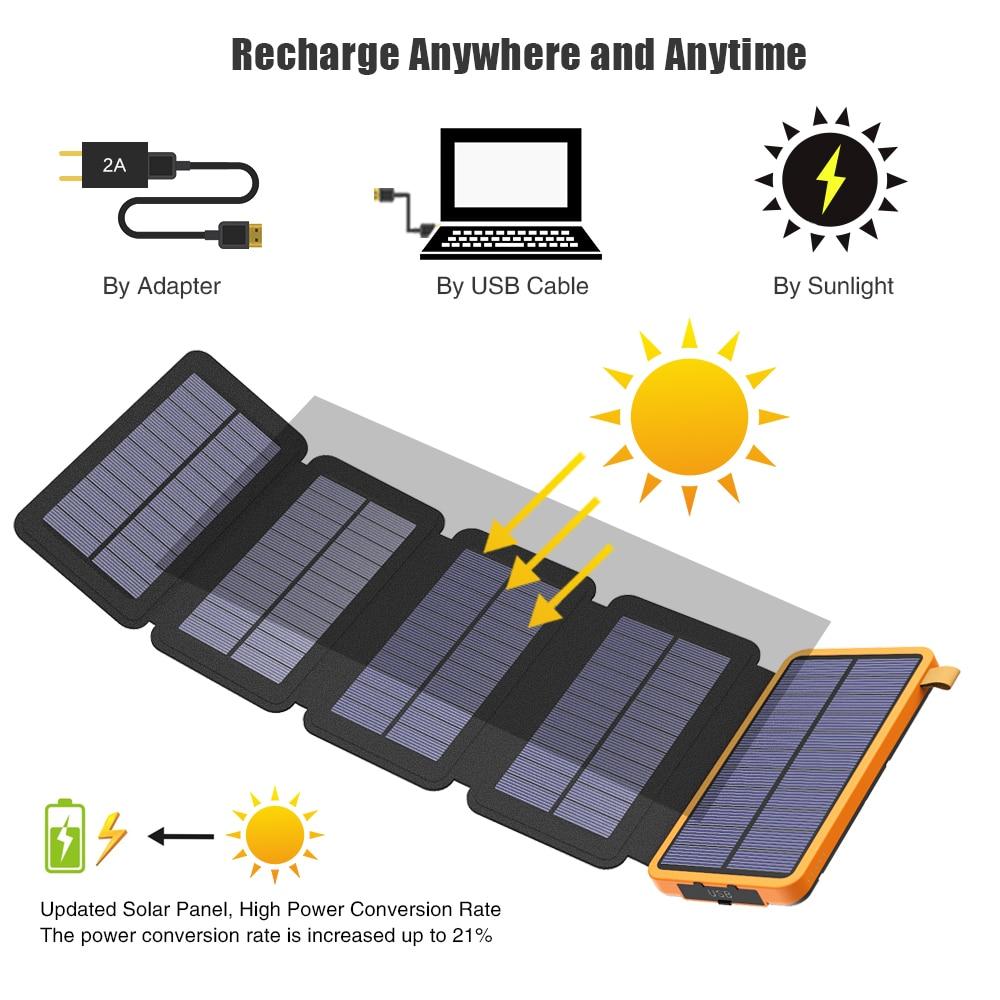 Banco de energía Solar con múltiples paneles solares, cargador de batería externa de teléfono Solar para iPhone 6 6s 7 8 plus X Xs Xr 11 12.