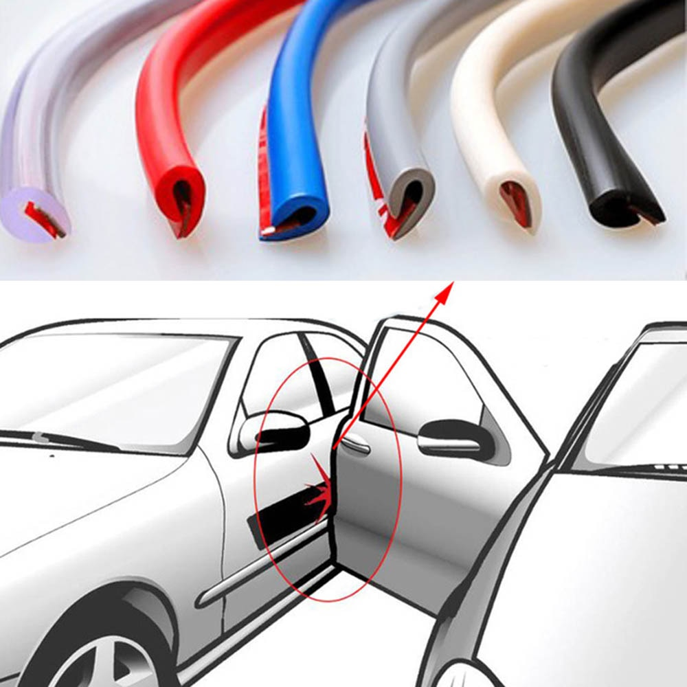 5M Car Door trips Rubber Edge Protective Strips Side Doors Moldings Adhesive Scratch Protector Vehicle For Cars Auto