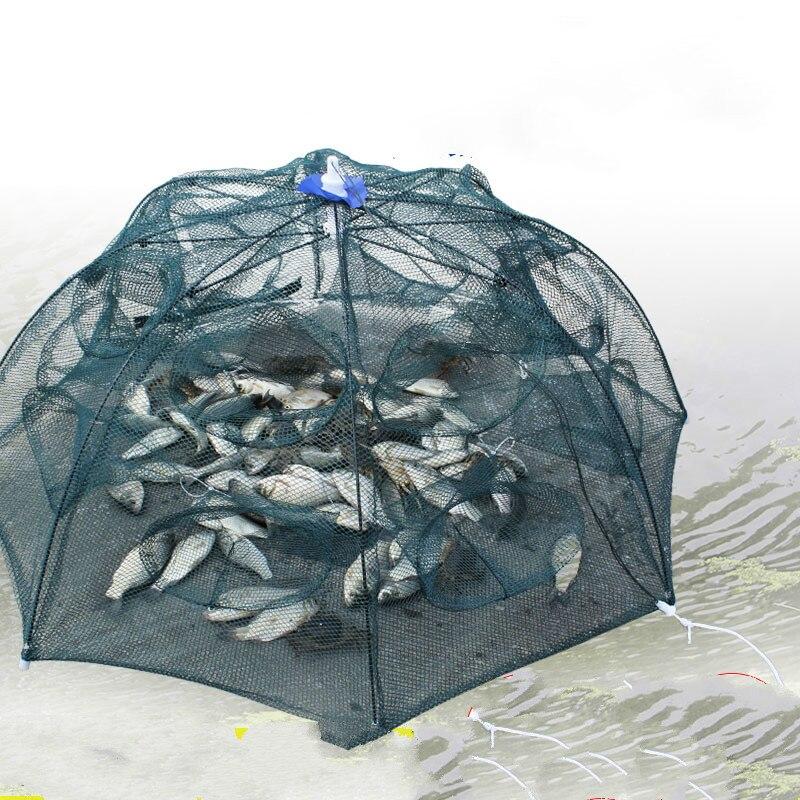 Red de Pesca automática de 6-24 agujeros, jaula de Camarón, trampa plegable de nailon para peces fundida, red de Pesca plegable, red de Pesca