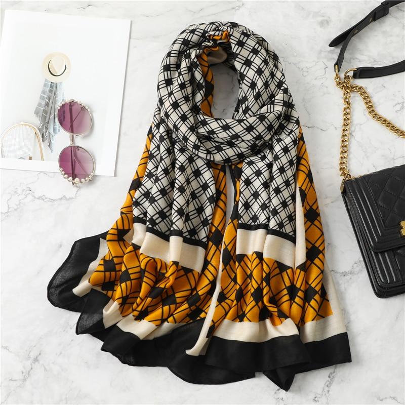 2021 Women Plaid Cotton Scarf Winter Warm Shawls Hijab Wraps Foulard Headband Large Pashmina Scarves