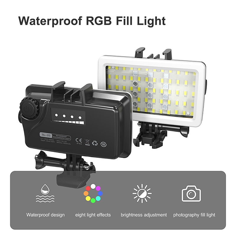 SL-20 IPX8 Waterproof RGB Fill Light 5000-6000K Portable Photographic Lighting Rechargeable LED Video Light for Gopro enlarge