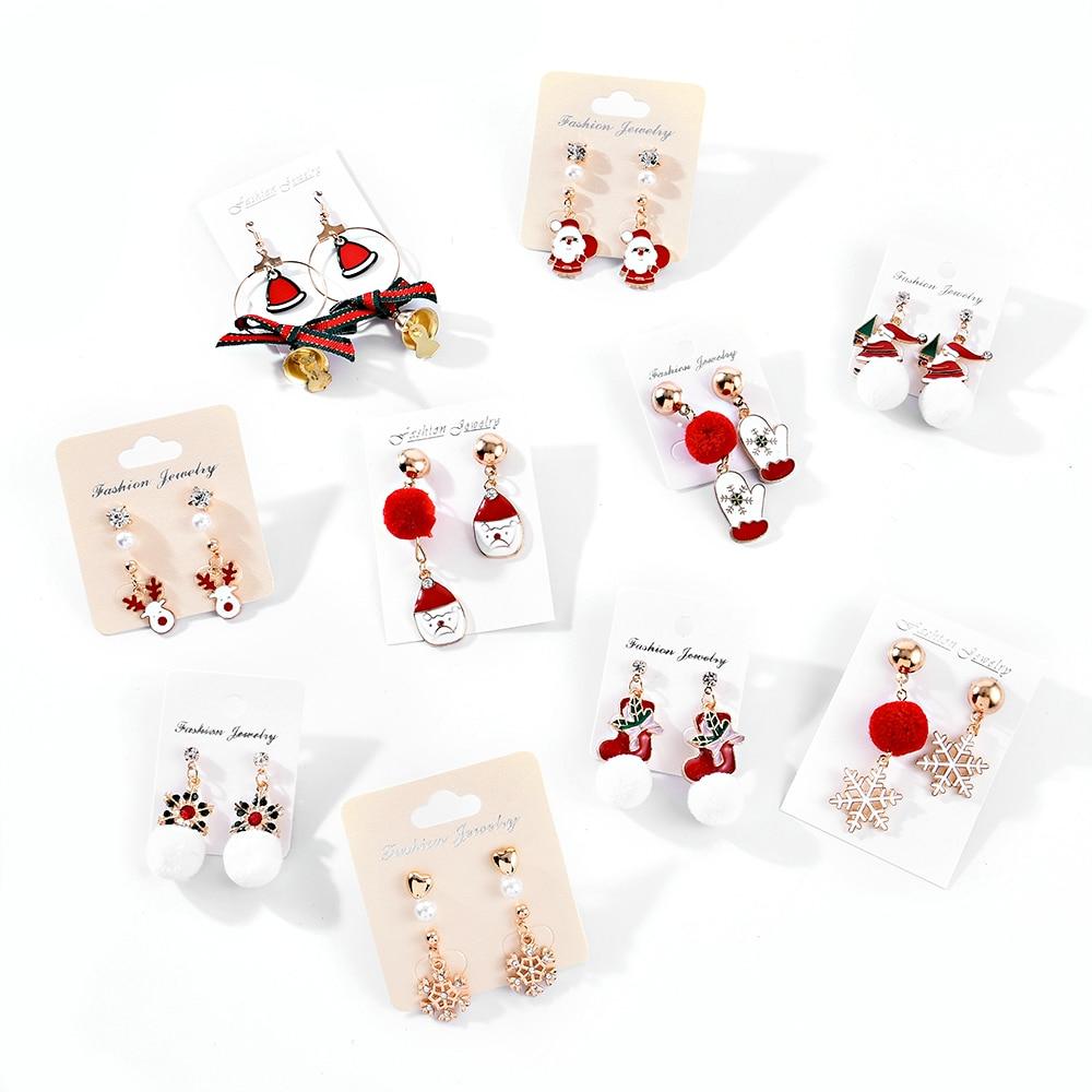 Christmas Earrings Cute Tree Bell Snowflake Ear Cuff Drop Dangle Earring Xmas Decor aretes de mujer modernos 2019
