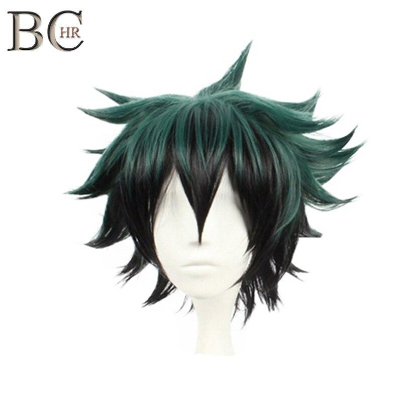 Peluca BCHR Deku, peluca de Anime verde oscuro para Cosplay, peluca sintética corta para mi boku no hero academia, peluca de disfraz Midoriya Izuku