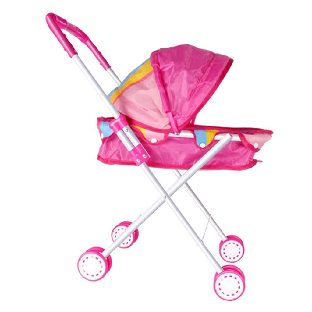 Cochecito portátil con muñeca Rosa aplicable para muñecas Reborn de 9-12 pulgadas o muñecas bebés de 25-30CM, mueble para niñas juego de juguete