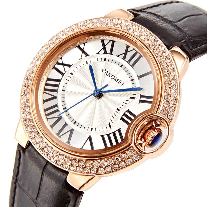 Часы наручные женские Кварцевые водонепроницаемые с кожаным ремешком, Классические повседневные, в автомобильном стиле, с алмазным циферб...
