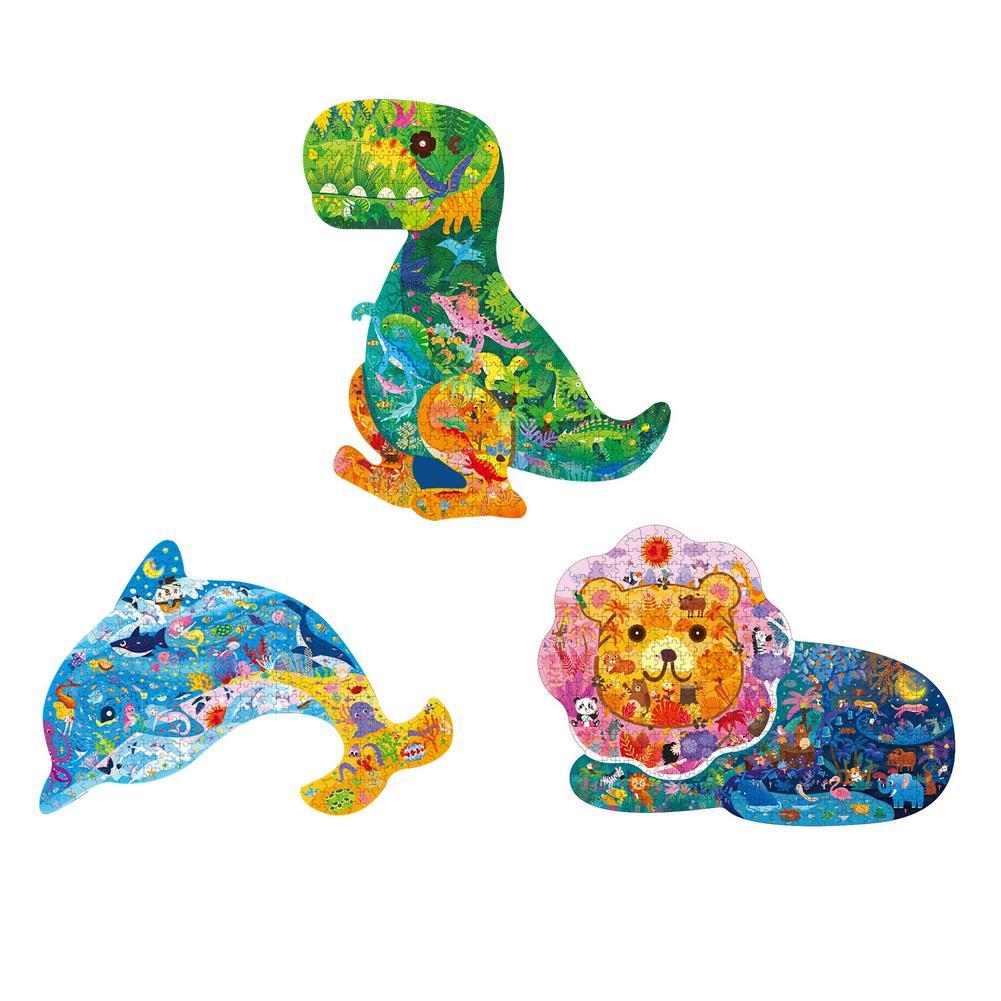 Новые головоломки в форме животных, динозавры, дельфин, Лев, детские головоломки, Мультяшные развивающие игры, игрушки, подарки для детей