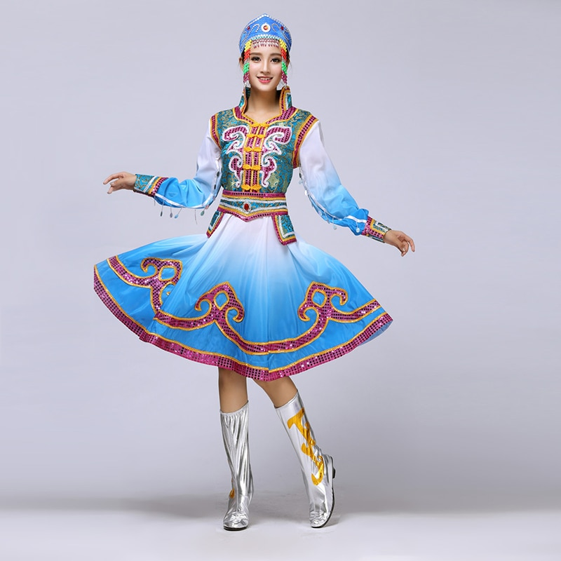 Mongolian Show Clothing Woman nation Ethnic Minority Square Dance Performance Dance Serve Adult Stage Dress Will Pendulum Skirt