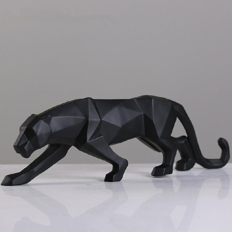 New 2020 Leopard Statue Figurine Modern Abstract Geometric Style Resin Panther Animal Large Ornament Home Decoration Accessories