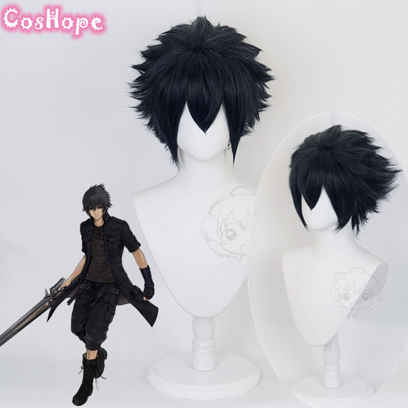 Noctis Cosplay Final Fantasy Cosplay Men Short Dark Blue Wig Cosplay Anime Cosplay Wig Heat Resistant Synthetic Wigs