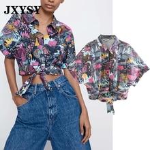 JXYSY Inglaterra estampado vintage sexy turn-down collar corto za blusa mujeres blusas de moda 2020 camisa mujeres tops y blusa