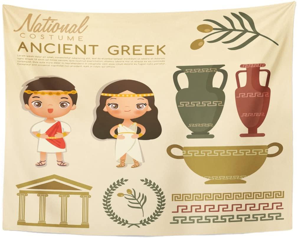 Mulher trajes tradicionais gregos antigos vestido pessoas tapeçaria decoração de casa pendurado na parede para sala estar quarto dormitório 60x80 polegadas