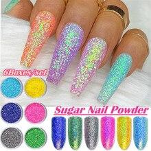 6Pcs/set Holographic Nail Glitter Shiny Colors Nail Art Fine Glitters Powder Dust UV Gel Polish Acrylic Nail Tips Makeup Tools