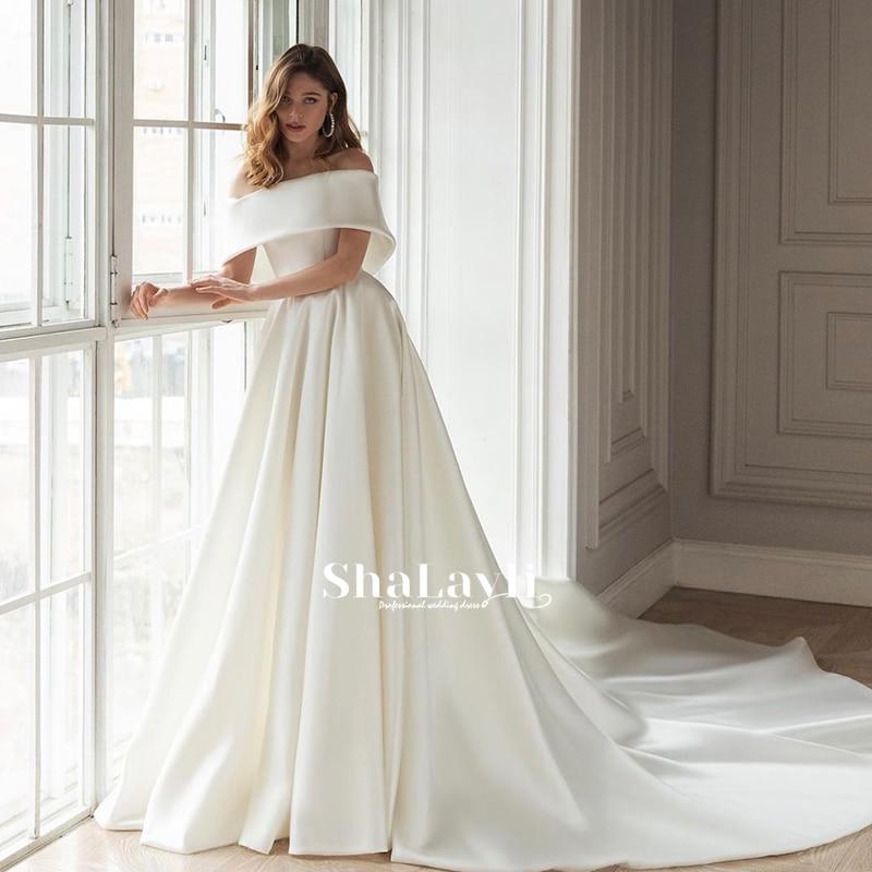 Review Elegant Matte Satin Wedding Dresses With Ball Gown Boat Neck Bride Gown Sleeveless Wedding Gown Back Zipper Vestido De Novia