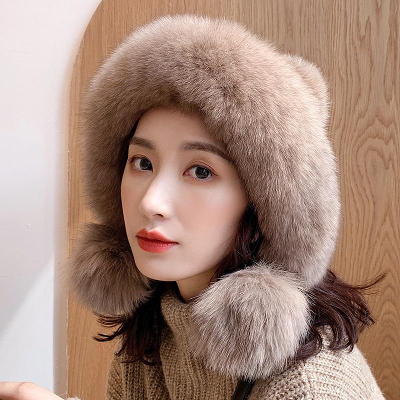 Lantafe Hats Women Hat Winter Hats For Women Ball Decoration  High Quality Fur Real Fur Knit Cap Fluffy Hair Pretty Cute Style