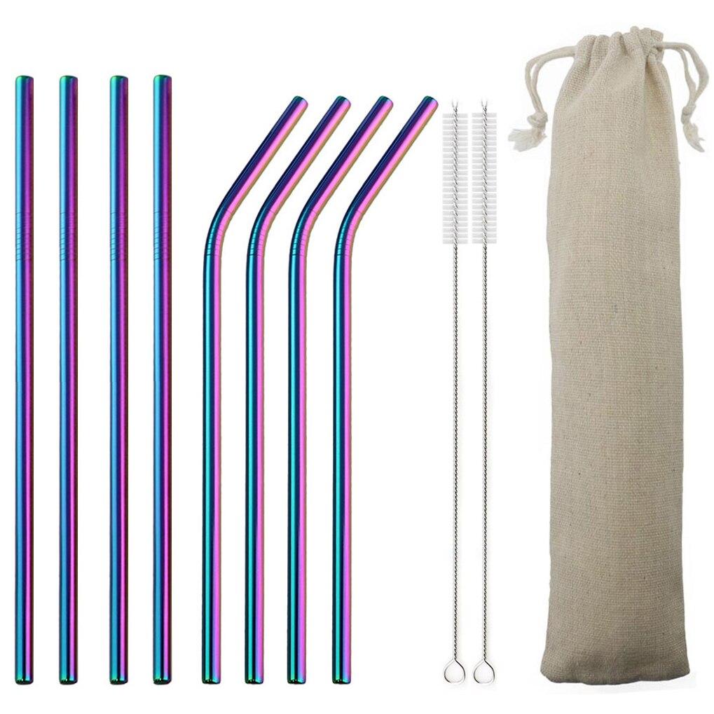 Pajita reutilizable 18/10 juego de paja de acero inoxidable de alta calidad Metal paja de colores con cepillo limpiador Bar accesorio de fiesta